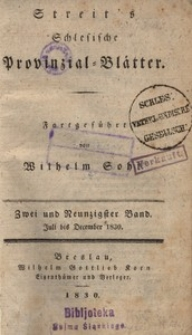 Schlesische Provinzialblätter, 1830, 92. Bd., Juli bis December