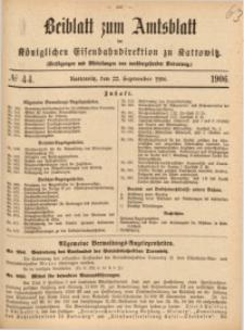 Beiblatt zum Amtsblatt der Königlischen Eisenbahndirektion zu Kattowitz, 1906, nr44