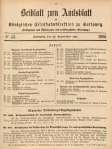 Beiblatt zum Amtsblatt der Königlischen Eisenbahndirektion zu Kattowitz, 1906, nr45
