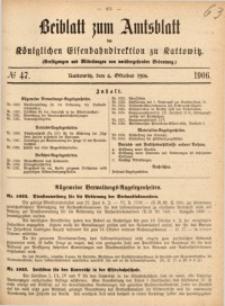 Beiblatt zum Amtsblatt der Königlischen Eisenbahndirektion zu Kattowitz, 1906, nr47