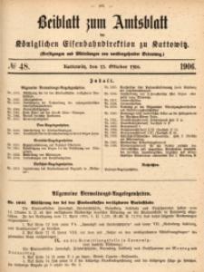Beiblatt zum Amtsblatt der Königlischen Eisenbahndirektion zu Kattowitz, 1906, nr48