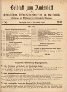 Beiblatt zum Amtsblatt der Königlischen Eisenbahndirektion zu Kattowitz, 1906, nr52