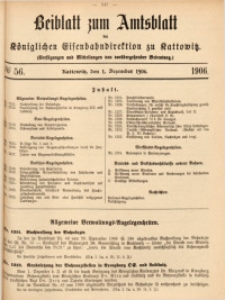 Beiblatt zum Amtsblatt der Königlischen Eisenbahndirektion zu Kattowitz, 1906, nr56