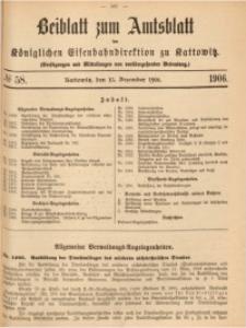 Beiblatt zum Amtsblatt der Königlischen Eisenbahndirektion zu Kattowitz, 1906, nr58