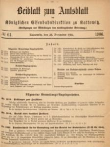 Beiblatt zum Amtsblatt der Königlischen Eisenbahndirektion zu Kattowitz, 1906, nr61