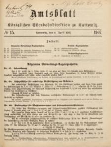Amtsblatt der Königlichen Eisenbahndirektion zu Kattowitz, 1907, nr15