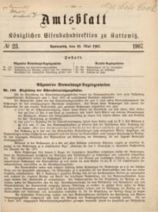 Amtsblatt der Königlichen Eisenbahndirektion zu Kattowitz, 1907, nr23