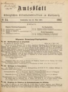 Amtsblatt der Königlichen Eisenbahndirektion zu Kattowitz, 1907, nr24