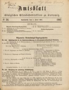 Amtsblatt der Königlichen Eisenbahndirektion zu Kattowitz, 1907, nr26