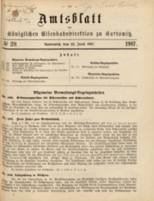 Amtsblatt der Königlichen Eisenbahndirektion zu Kattowitz, 1907, nr29