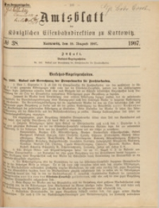 Amtsblatt der Königlichen Eisenbahndirektion zu Kattowitz, 1907, nr38