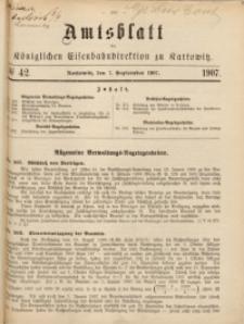 Amtsblatt der Königlichen Eisenbahndirektion zu Kattowitz, 1907, nr42
