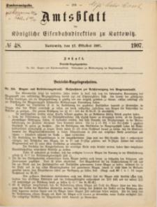 Amtsblatt der Königlichen Eisenbahndirektion zu Kattowitz, 1907, nr48