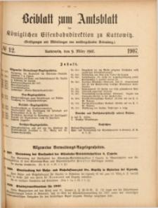 Beiblatt zum Amtsblatt der Königlischen Eisenbahndirektion zu Kattowitz, 1907, nr12
