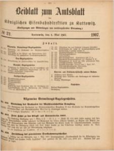 Beiblatt zum Amtsblatt der Königlischen Eisenbahndirektion zu Kattowitz, 1907, nr21