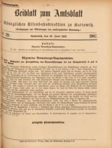 Beiblatt zum Amtsblatt der Königlischen Eisenbahndirektion zu Kattowitz, 1907, nr29