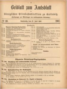 Beiblatt zum Amtsblatt der Königlischen Eisenbahndirektion zu Kattowitz, 1907, nr39