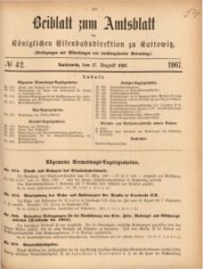 Beiblatt zum Amtsblatt der Königlischen Eisenbahndirektion zu Kattowitz, 1907, nr42
