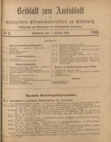 Beiblatt zum Amtsblatt der Königlischen Eisenbahndirektion zu Kattowitz, 1908, nr1