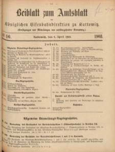 Beiblatt zum Amtsblatt der Königlischen Eisenbahndirektion zu Kattowitz, 1908, nr16