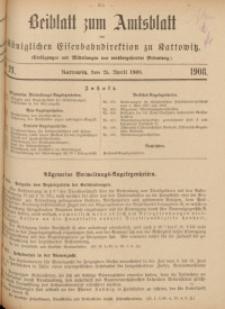 Beiblatt zum Amtsblatt der Königlischen Eisenbahndirektion zu Kattowitz, 1908, nr21