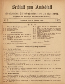 Beiblatt zum Amtsblatt der Königlischen Eisenbahndirektion zu Kattowitz, 1909, nr3