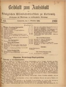 Beiblatt zum Amtsblatt der Königlischen Eisenbahndirektion zu Kattowitz, 1909, nr63