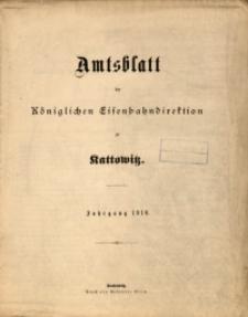 Sach-Register zum Amtsblatt der Königlichen Eisenbahndirektion zu Kattowitz, Jahrgang 1910