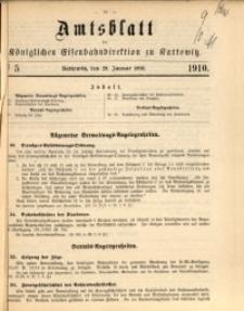 Amtsblatt der Königlichen Eisenbahndirektion zu Kattowitz, 1910, nr5