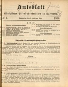 Amtsblatt der Königlichen Eisenbahndirektion zu Kattowitz, 1910, nr6