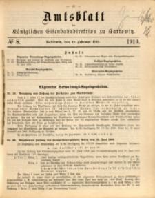 Amtsblatt der Königlichen Eisenbahndirektion zu Kattowitz, 1910, nr8