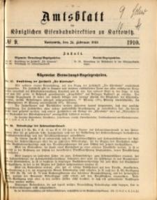 Amtsblatt der Königlichen Eisenbahndirektion zu Kattowitz, 1910, nr9