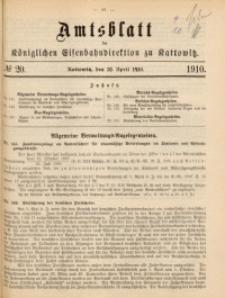 Amtsblatt der Königlichen Eisenbahndirektion zu Kattowitz, 1910, nr20
