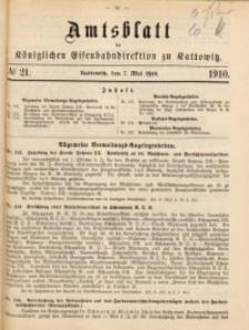 Amtsblatt der Königlichen Eisenbahndirektion zu Kattowitz, 1910, nr21
