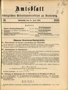 Amtsblatt der Königlichen Eisenbahndirektion zu Kattowitz, 1910, nr26