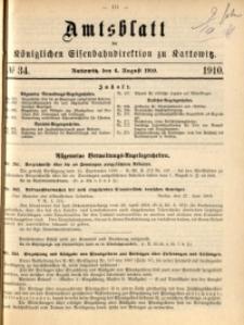 Amtsblatt der Königlichen Eisenbahndirektion zu Kattowitz, 1910, nr34