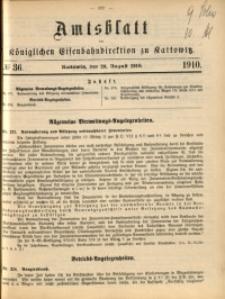 Amtsblatt der Königlichen Eisenbahndirektion zu Kattowitz, 1910, nr36
