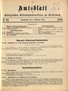 Amtsblatt der Königlichen Eisenbahndirektion zu Kattowitz, 1910, nr43