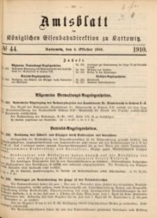 Amtsblatt der Königlichen Eisenbahndirektion zu Kattowitz, 1910, nr44