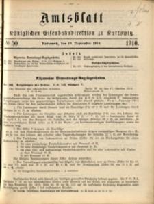 Amtsblatt der Königlichen Eisenbahndirektion zu Kattowitz, 1910, nr50