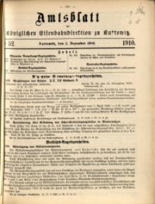 Amtsblatt der Königlichen Eisenbahndirektion zu Kattowitz, 1910, nr52