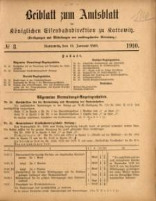 Beiblatt zum Amtsblatt der Königlischen Eisenbahndirektion zu Kattowitz, 1910, nr3