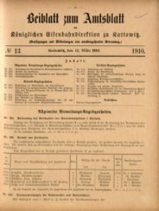 Beiblatt zum Amtsblatt der Königlischen Eisenbahndirektion zu Kattowitz, 1910, nr13