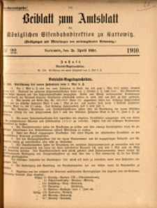 Beiblatt zum Amtsblatt der Königlischen Eisenbahndirektion zu Kattowitz, 1910, nr22