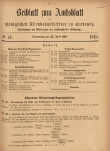 Beiblatt zum Amtsblatt der Königlischen Eisenbahndirektion zu Kattowitz, 1910, nr41