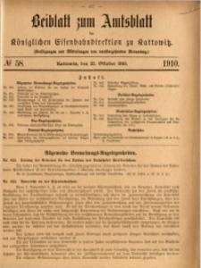 Beiblatt zum Amtsblatt der Königlischen Eisenbahndirektion zu Kattowitz, 1910, nr58