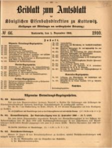 Beiblatt zum Amtsblatt der Königlischen Eisenbahndirektion zu Kattowitz, 1910, nr66