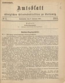 Amtsblatt der Königlichen Eisenbahndirektion zu Kattowitz, 1911, nr1