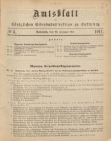 Amtsblatt der Königlichen Eisenbahndirektion zu Kattowitz, 1911, nr5