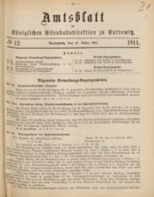 Amtsblatt der Königlichen Eisenbahndirektion zu Kattowitz, 1911, nr12